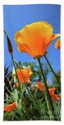 Orange Poppy Blue Sky Beach Towel