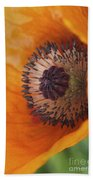 Orange Poppy With Texture Beach Towel