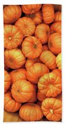 Orange Pumpkins Autumn Background. Beach Towel