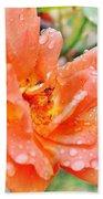 Orange Rose Raindrops Beach Towel