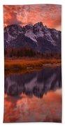 Orange Skies Over The Tetons Beach Towel
