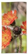 Orange Small Flowers With Buds Beach Towel