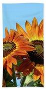 Orange Sunflowers Summer Blue Sky Art Prints Baslee Beach Towel