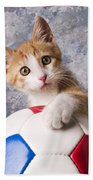 Orange Tabby Kitten With Soccer Ball Beach Towel