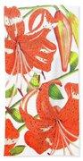 Orange Tiger Lilies Beach Towel