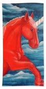 Orange Unicorn Beach Towel