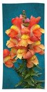 Orange Yellow Snapdragon Flowers Beach Towel