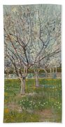 Orchard In Blossom, Plum Trees Beach Towel
