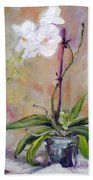 Orchid In White 3 Beach Towel