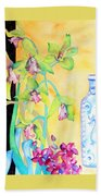 Orchids And Blue Vase Beach Towel
