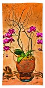 Orchids In Basket Beach Towel