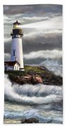 Oregon Lighthouse Beam Of Hope Beach Towel