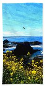 Oregon Wild Flowers Water Color Beach Towel