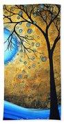 Orginal Abstract Landscape Painting Blue Fire By Madart Beach Sheet