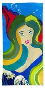 Japanese Mermaid Bubbles  Beach Towel