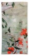 Oriental Orange Flowers Beach Towel