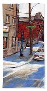 Original Montreal Paintings For Sale Tableaux De Montreal A Vendre Pointe St Charles Scenes Beach Towel