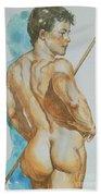 Original Watercolor Painting Art Male Nude Men On Paper #12-25-02 Beach Towel