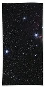 Orions Belt, Horsehead Nebula And Flame Beach Towel by Luis Argerich