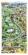 Orlando Florida Cartoon Map Beach Towel