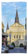 Orleans Street And St Louis Cathedral Beach Towel