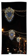 Ornamental Design Christmas Light Decoration In Madrid, Spain Beach Towel