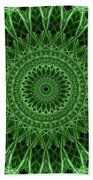 Ornamented Mandala In Green Tones Beach Towel