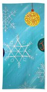 Ornaments And Snowflakes Beach Towel