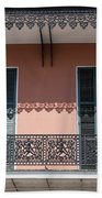 Ornate Balcony In New Orleans Beach Towel