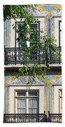 Ornate Building Facade In Lisbon Portugal Beach Towel