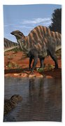Ouranosaurus Drink At A Watering Hole Beach Towel