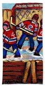 Pointe St Charles Hockey Rink Painting Leafs Vs Habs Quebec Winter Scene Hockey Art Carole Spandau Beach Towel