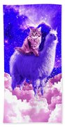 Outer Space Galaxy Kitty Cat Riding On Llama Beach Towel