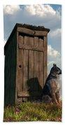 Outhouse Guardian - German Shepherd Version Beach Towel