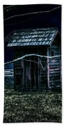 Outhouse In The Moonlight With Flying Crows Beach Towel