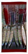 Outrigger Canoe Boats And Water Reflection Beach Towel