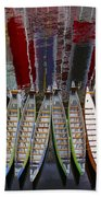 Outrigger Canoe Boats And Water Reflection Beach Towel by Ben and Raisa Gertsberg