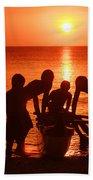 Outrigger Sunset Silhouet Beach Towel