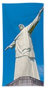 Outstretched Arms Of Christ The Redeemer Icon On Corcovado Mountain In Rio De Janeiro-brazil  Beach Towel