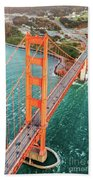 Overhead Aerial Of Golden Gate Bridge, San Francisco, Usa Beach Towel