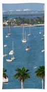Overlooking A Miami Marina Beach Towel