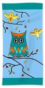 Owl And Birds - Whimsical Beach Towel