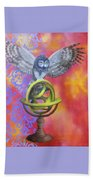 Owl And Star Map Beach Towel