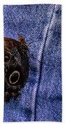 Owl Butterfly On Jeans Beach Towel