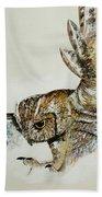 Owl In Flight Beach Towel