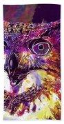 Owl The Female Eagle Owl Bird  Beach Towel