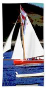 Oyster Boats Beach Towel