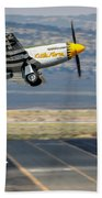 P51 Mustang Little Horse Gear Coming Up Friday At Reno Air Races 16x9 Aspect Signature Edition Beach Towel