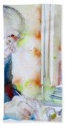 Pablo Neruda - Watercolor Portrait.8 Beach Towel