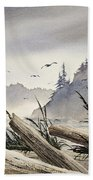 Pacific Northwest Driftwood Shore Beach Towel by James Williamson